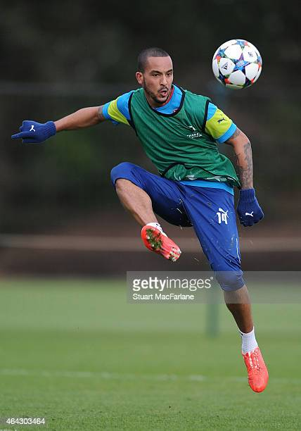 Theo Walcott of Arsenal during a training session at London Colney on February 24, 2015 in St Albans, England.