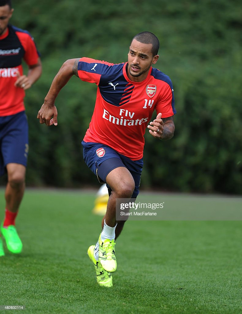 Theo Walcott of Arsenal during a training session at London Colney on August 1, 2015 in St Albans, England.
