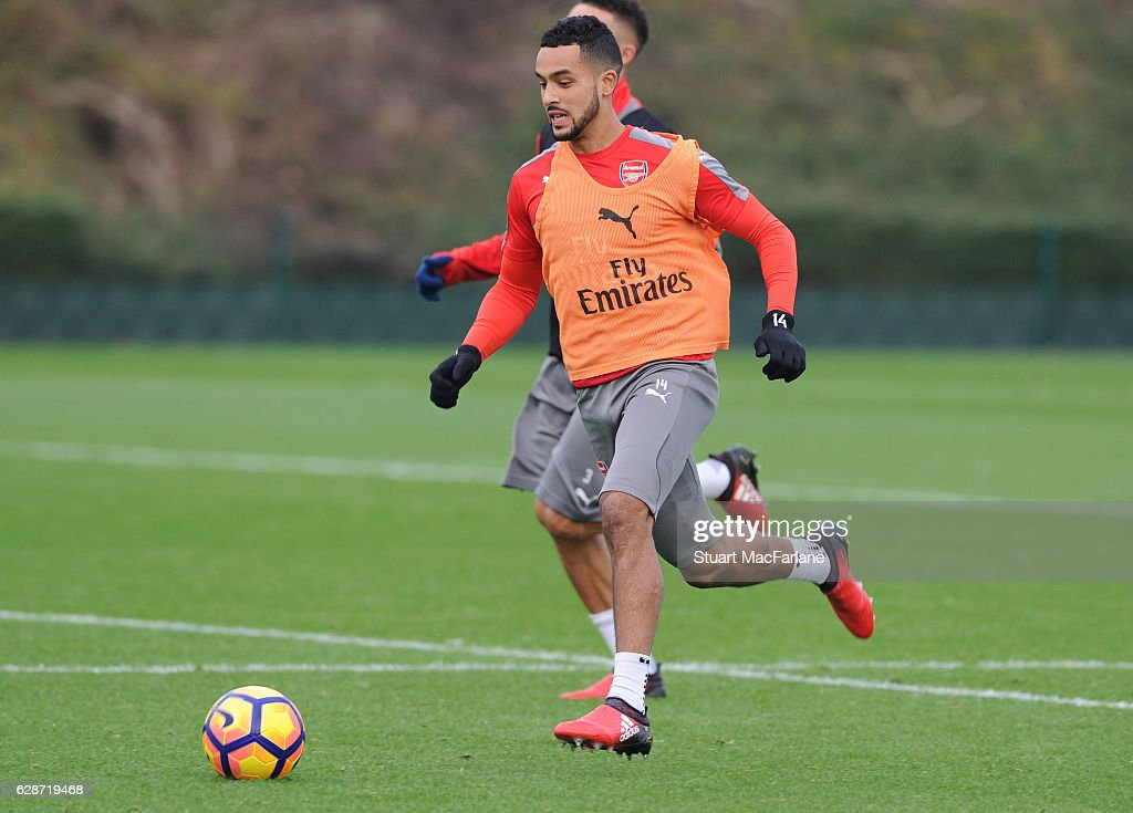 Theo Walcott of Arsenal during a training session at London Colney on December 9, 2016 in St Albans, England.