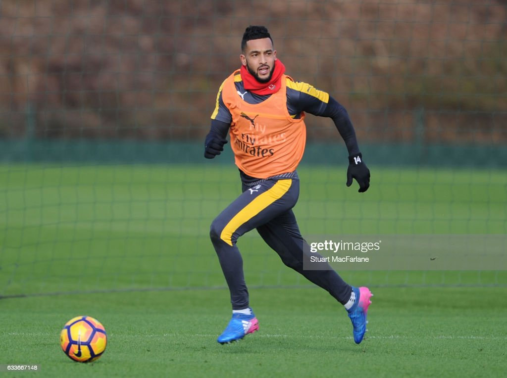 Theo Walcott of Arsenal during a training session at London Colney on February 3, 2017 in St Albans, England.