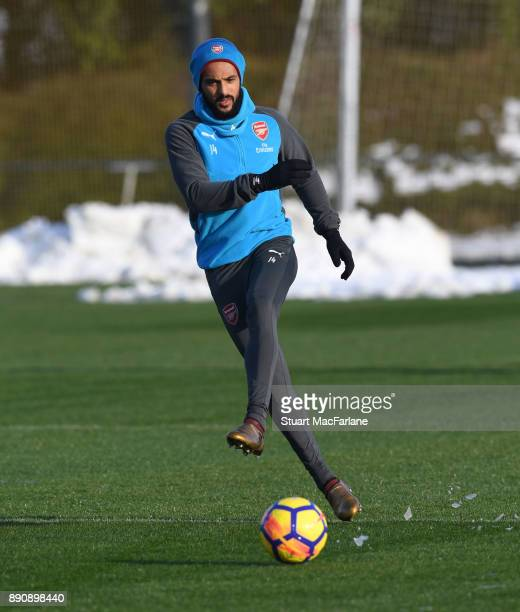 Theo Walcott of Arsenal during a training session at London Colney on December 12 2017 in St Albans England