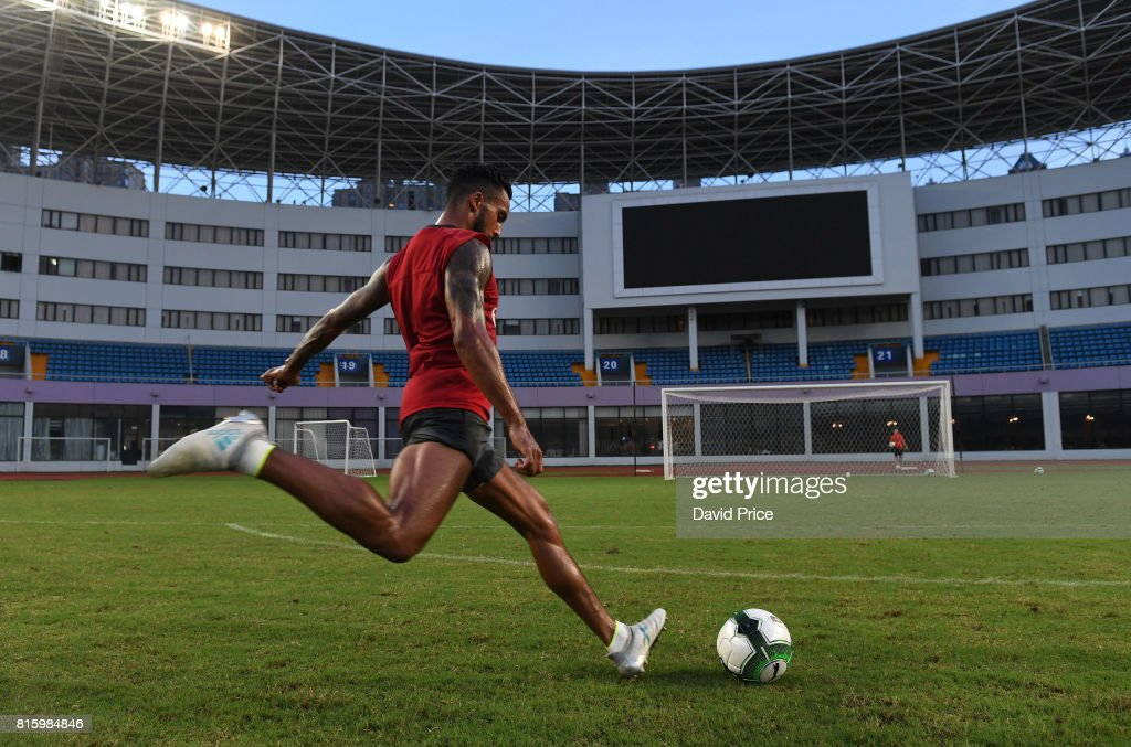 Theo Walcott of Arsenal during an Arsenal Training Session at Yuanshen Sports Centre Stadium on July 17, 2017 in Shanghai, China.