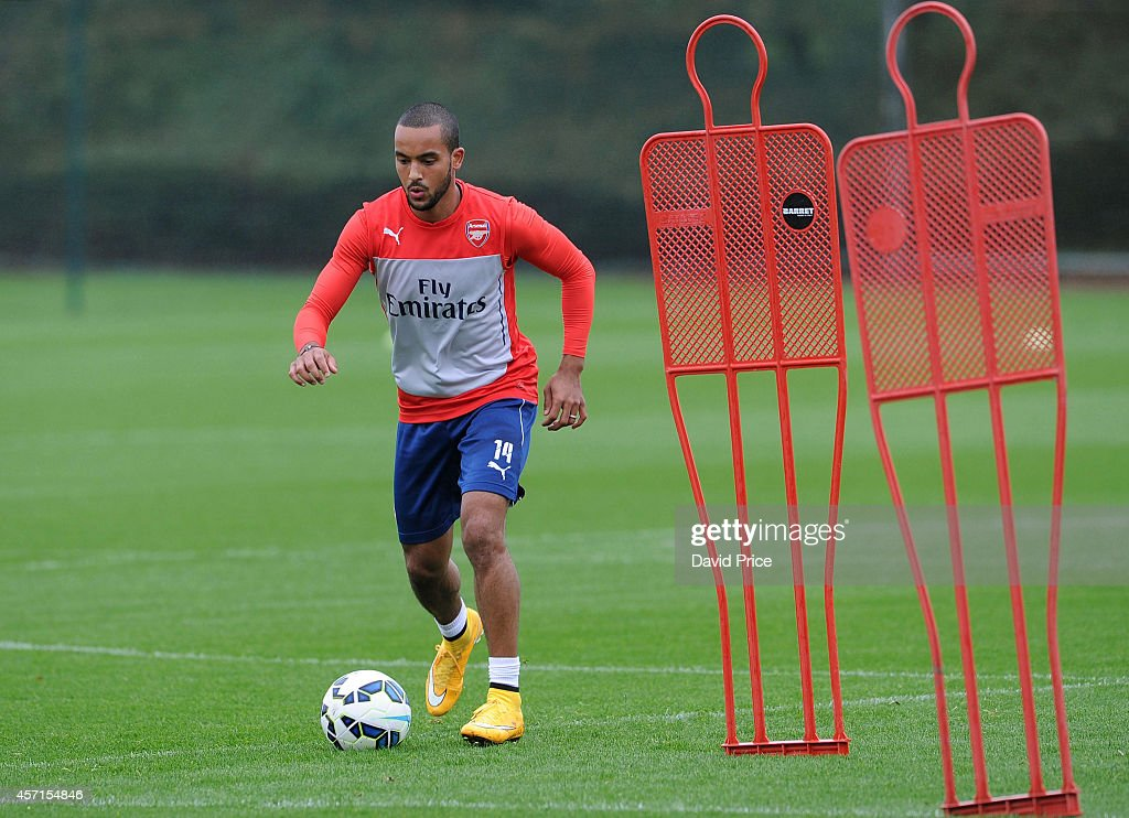 Theo Walcott of Arsenal during the Arsenal 1st team training session at London Colney on October 13, 2014 in St Albans, England.