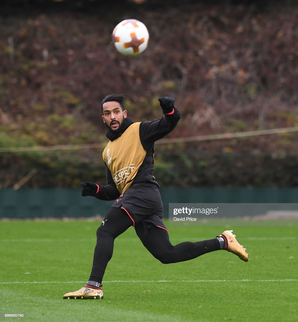 Theo Walcott of Arsenal during the Arsenal Training Session at London Colney on December 6, 2017 in St Albans, England.
