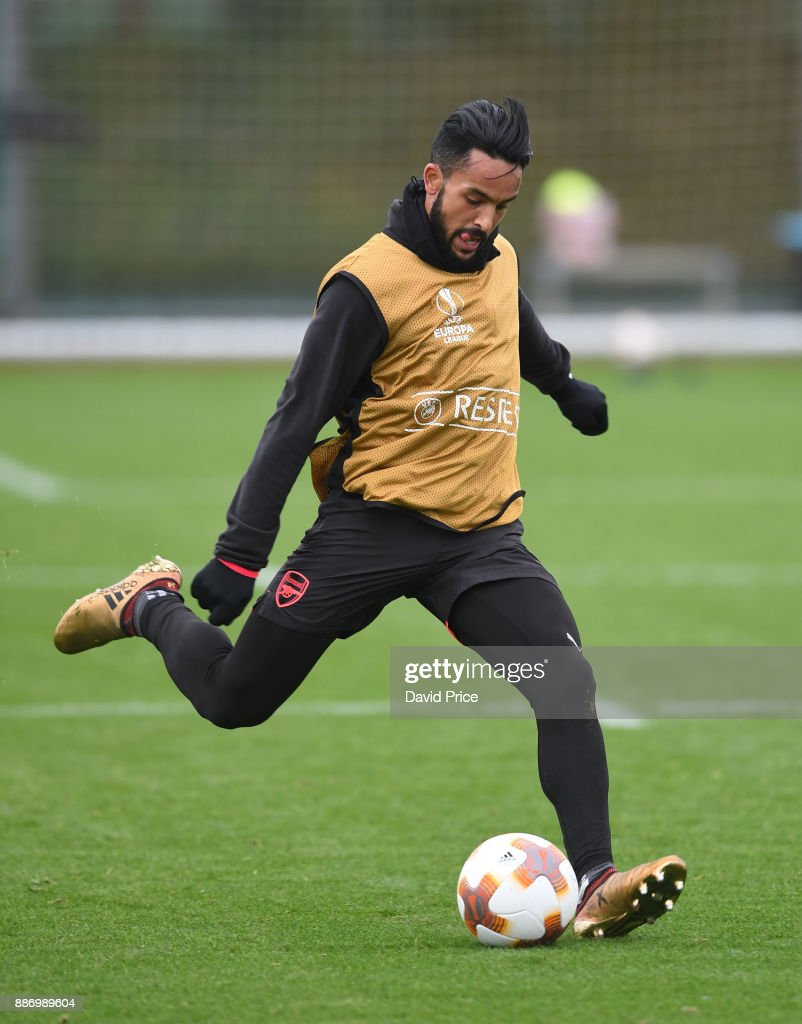 Theo Walcott of Arsenal during the Arsenal training session, on the eve of the UEFA Europa League group H match against BATE Borisov, at London Colney on December 6, 2017 in St Albans, England.