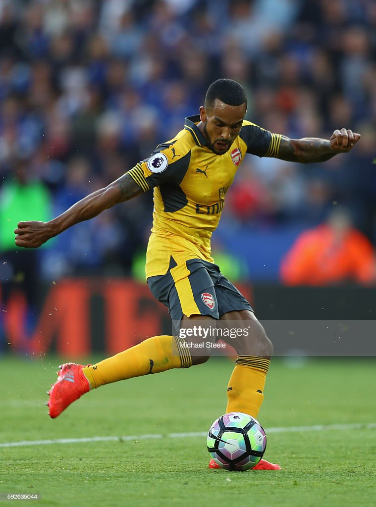 Theo Walcott of Arsenal during the Premier League match between Leicester City and Arsenal at The King Power Stadium on August 20, 2016 in Leicester, England.