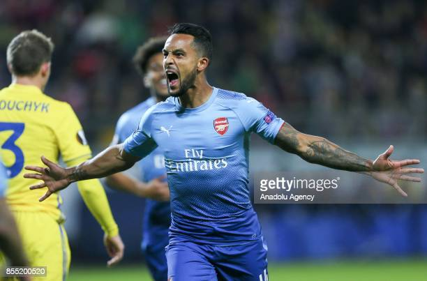 Theo Walcott of Arsenal FC celebrates a goal during the UEFA Europa League group H match between BATE Borisov and Arsenal FC at the BorisovArena...