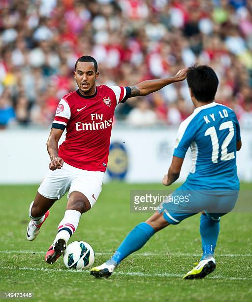 Theo Walcott of Arsenal FC in action during the pre-season Asian Tour friendly match between Kitchee FC and Arsenal at Hong Kong Stadium on July 29,...