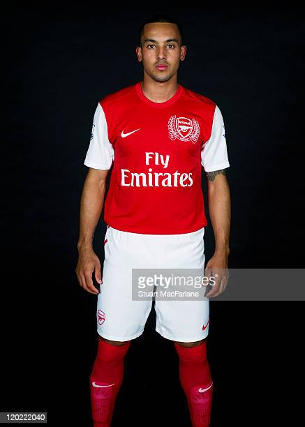 Theo Walcott of Arsenal FC poses in the Arsenal home kit for the 2011/2012 season at their London Colney training ground on April 8 2011 in St Albans...