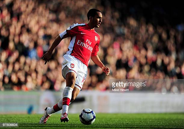 Theo Walcott of Arsenal in action during the Barclays Premier League match between Arsenal and Burnley at Emirates Stadium on March 6 2010 in London...