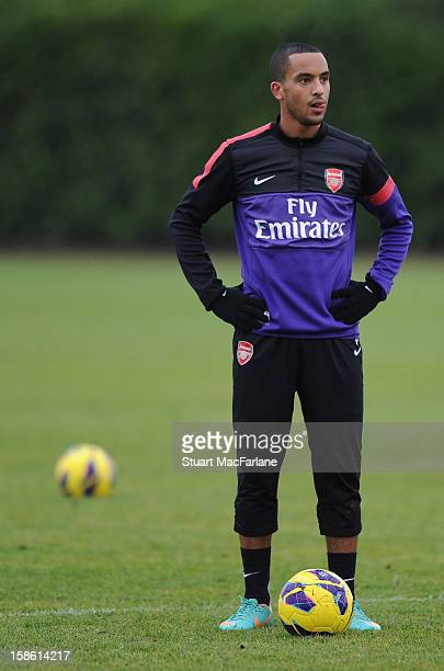 Theo Walcott of Arsenal looks on during a training session at London Colney on December 21 2012 in St Albans England