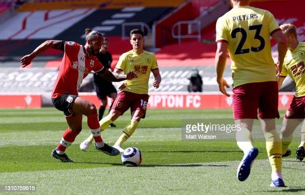 Theo Walcott of during the Premier League match between Southampton and Burnley at St Mary's Stadium on April 04, 2021 in Southampton, England....
