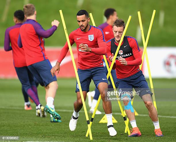 Theo Walcott of England and Jamie Vardy of England warm up during an England training session ahead of the FIFA 2018 World Cup Group F Qualifier...