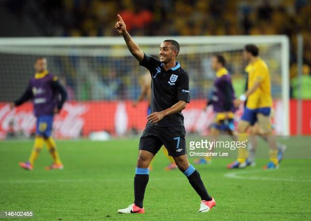 Theo Walcott of England celebrates victory during the UEFA EURO 2012 group D match between Sweden and England at The Olympic Stadium on June 15, 2012...