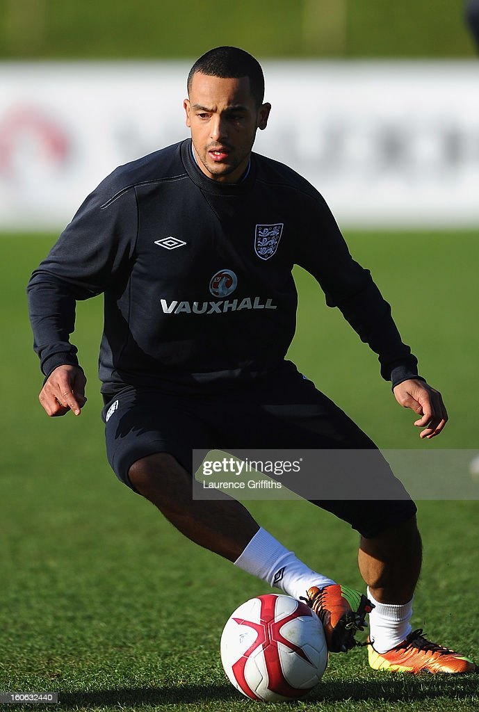 Theo Walcott of England in action during a training session at St Georges Park on February 4, 2013 in Burton-upon-Trent, England.