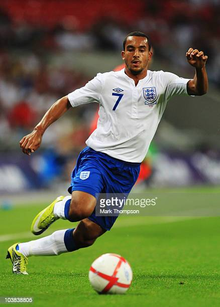 Theo Walcott of England is seen during the UEFA EURO 2012 Group G Qualifying match between England and Bulgaria at Wembley Stadium on September 3...