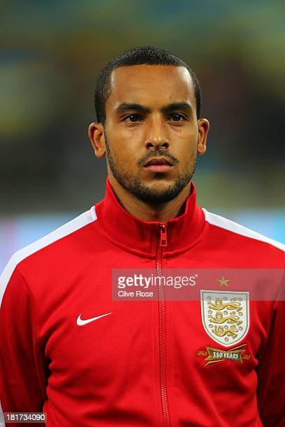 Theo Walcott of England looks on prior to the FIFA 2014 World Cup qualifying match between Ukraine and England at the Olympic Stadium on September 10...