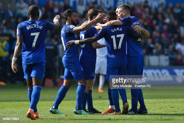 Theo Walcott of Everton and and team mates celebrate their goal during Premier League match between Swansea City and Everton at the Liberty Stadium...