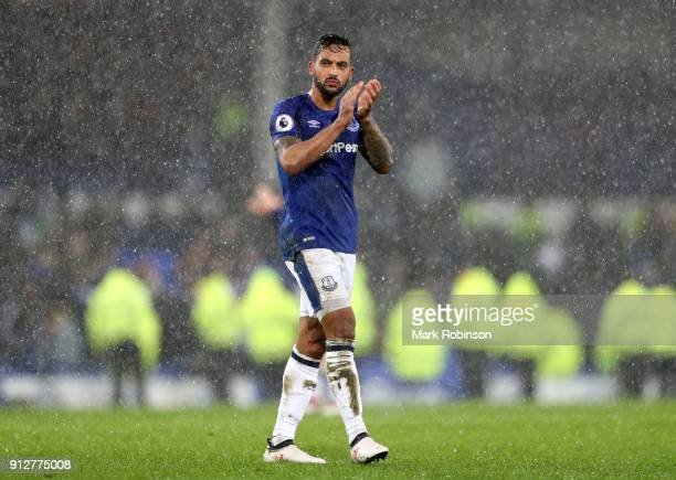 Theo Walcott of Everton applauds fans after the Premier League match between Everton and Leicester City at Goodison Park on January 31 2018 in...
