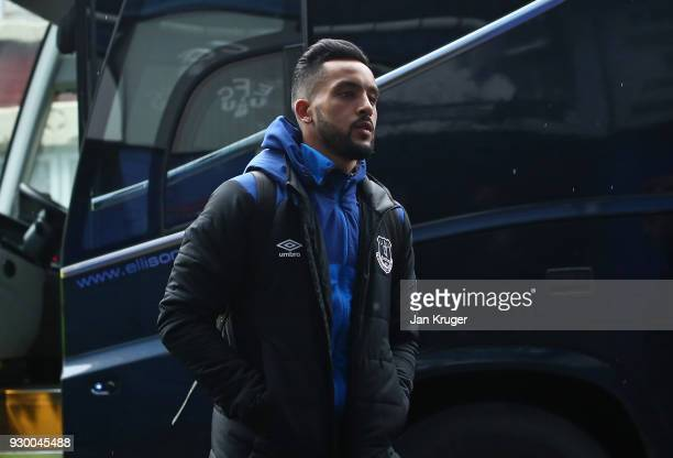 Theo Walcott of Everton arrives ahead of the Premier League match between Everton and Brighton and Hove Albion at Goodison Park on March 10 2018 in...