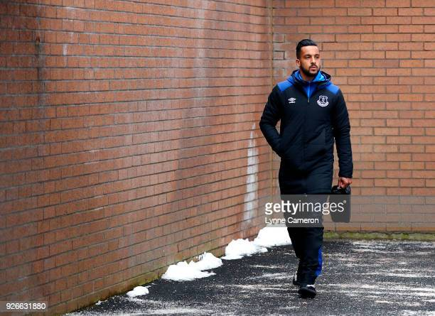 Theo Walcott of Everton arrives prior to the Premier League match between Burnley and Everton at Turf Moor on March 3 2018 in Burnley England