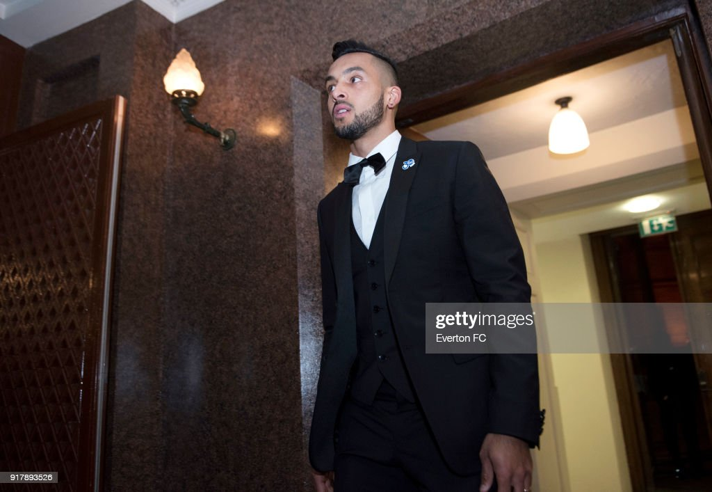 Theo Walcott of Everton arriving during the Everton in the Community Gala Dinner at St Georges Hall on February 13, 2018 in Liverpool, England.