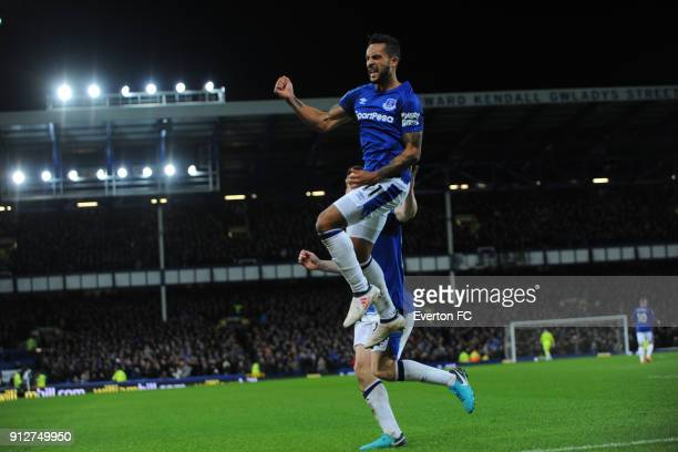 Theo Walcott of Everton celebrates after he scores the second goal during the Premier League match between Everton and Leicester City at Goodison...