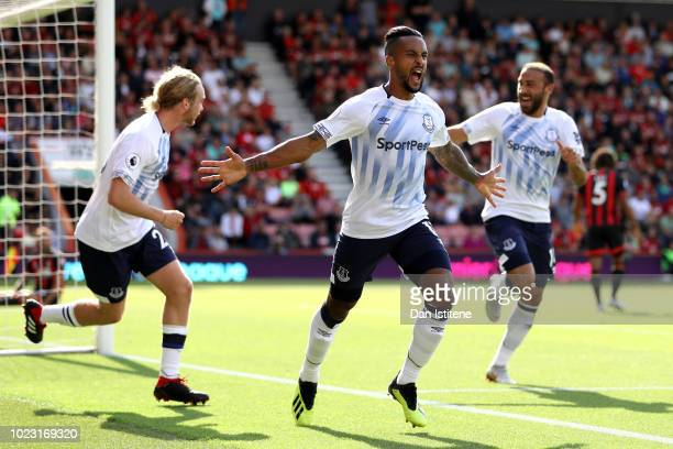 Theo Walcott of Everton celebrates after scoring his team's first goal during the Premier League match between AFC Bournemouth and Everton FC at...