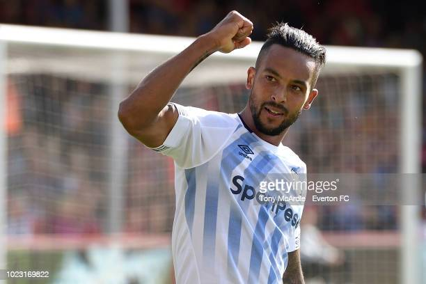 Theo Walcott of Everton celebrates his goal during the Premier League match between AFC Bournemouth and Everton at the Vitality Stadium on August 25,...