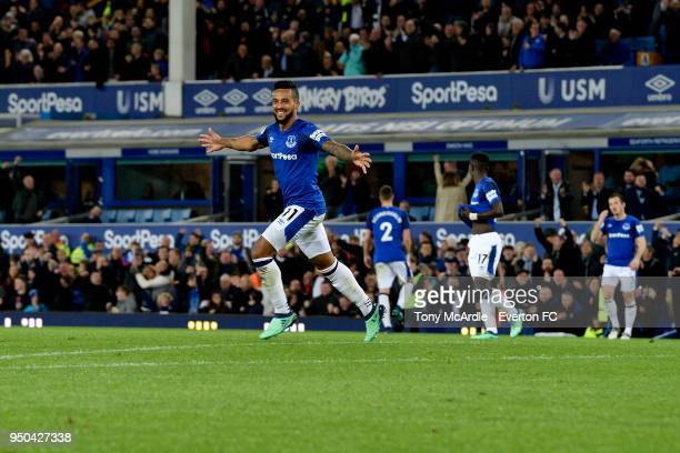 Theo Walcott of Everton celebrates his goal during the Premier League match between Everton and Newcastle United at Goodison Park on April 23 2018 in...