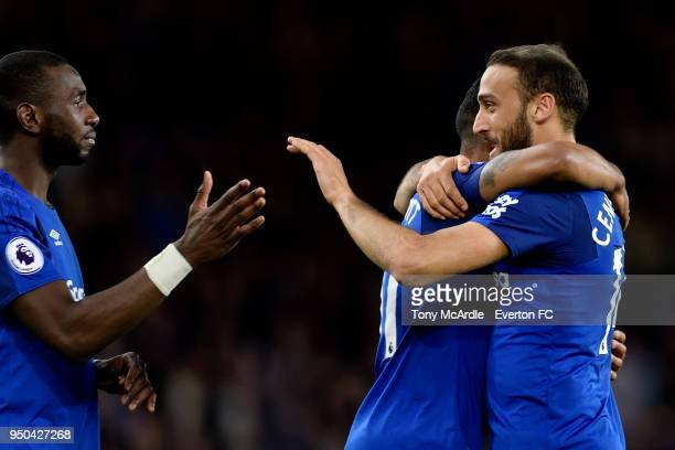Theo Walcott of Everton celebrates his goal with Cenk Tosun and Yannick Bolasie during the Premier League match between Everton and Newcastle United...