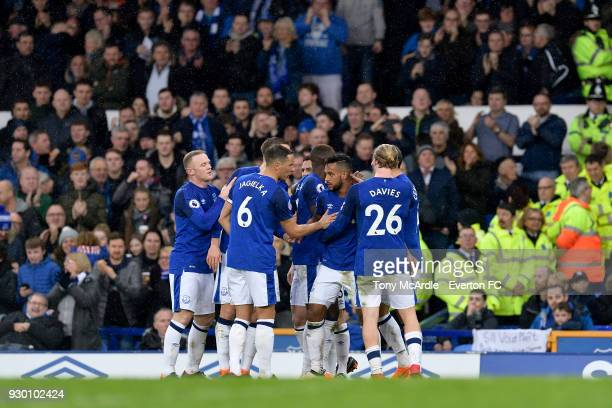 Theo Walcott of Everton celebrates his goal with team mates during the Premier League match between Everton and Brighton and Hove Albion at Goodison...