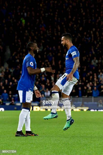 Theo Walcott of Everton celebrates his goal with Yannick Bolasie during the Premier League match between Everton and Newcastle United at Goodison...