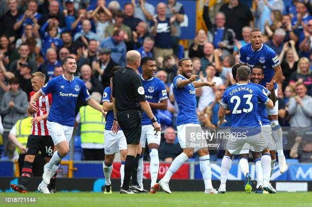 Theo Walcott of Everton celebrates scoring his team's first goal with team mates during the Premier League match between Everton FC and Southampton...