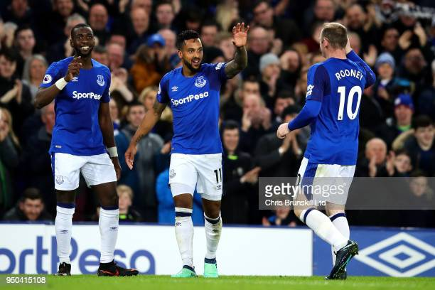 Theo Walcott of Everton celebrates scoring the opening goal during the Premier League match between Everton and Newcastle United at Goodison Park on...