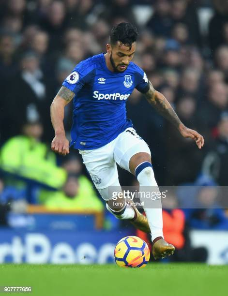 Theo Walcott of Everton during the Premier League match between Everton and West Bromwich Albion at Goodison Park on January 20 2018 in Liverpool...