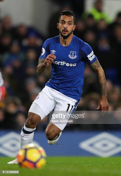 Theo Walcott of Everton during the Premier League match between Everton and Leicester City at Goodison Park on January 31 2018 in Liverpool England