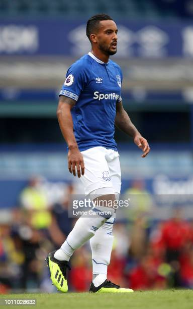 Theo Walcott of Everton gestures during the PreSeason Friendly between Everton and Valencia at Goodison Park on August 4 2018 in Liverpool England