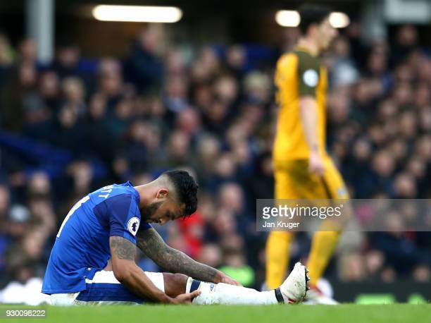 Theo Walcott of Everton holds his leg as he goes down injured during the Premier League match between Everton and Brighton and Hove Albion at...
