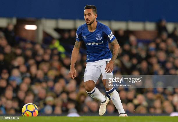 Theo Walcott of Everton in action during the Premier League match between Everton and Leicester City at Goodison Park on January 31 2018 in Liverpool...