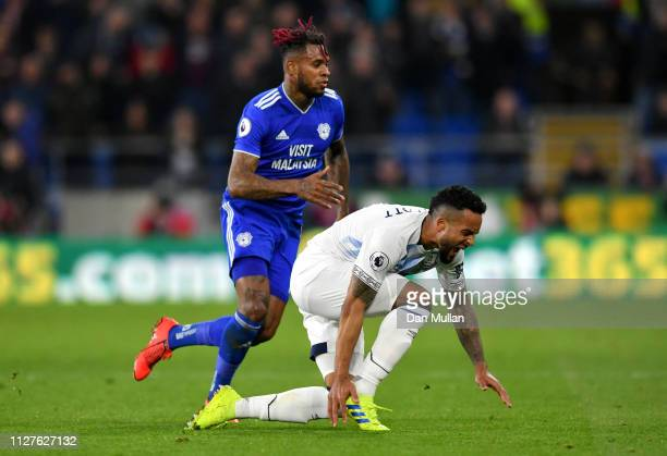 Theo Walcott of Everton is injured as Leandro Bacuna of Cardiff City moves in during the Premier League match between Cardiff City and Everton FC at...