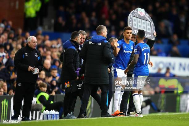 Theo Walcott of Everton leaves the field through injury during the Premier League match between Everton and Brighton and Hove Albion at Goodison Park...