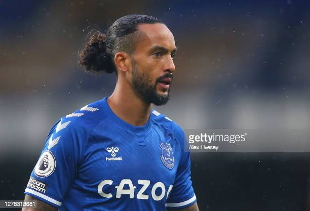Theo Walcott of Everton looks on during the Premier League match between Everton and Brighton & Hove Albion at Goodison Park on October 03, 2020 in...