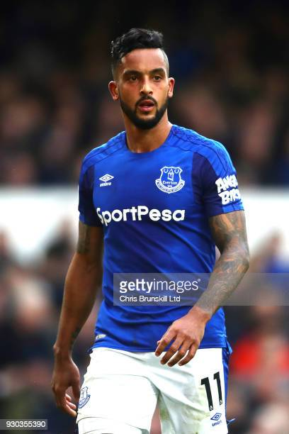Theo Walcott of Everton looks on during the Premier League match between Everton and Brighton and Hove Albion at Goodison Park on March 10 2018 in...