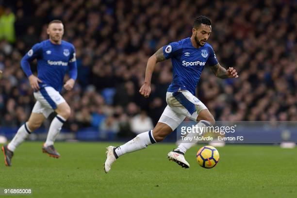 Theo Walcott of Everton on the ball during the Premier League match between Everton and Crystal Palace at Goodison Park on February 10 2018 in...