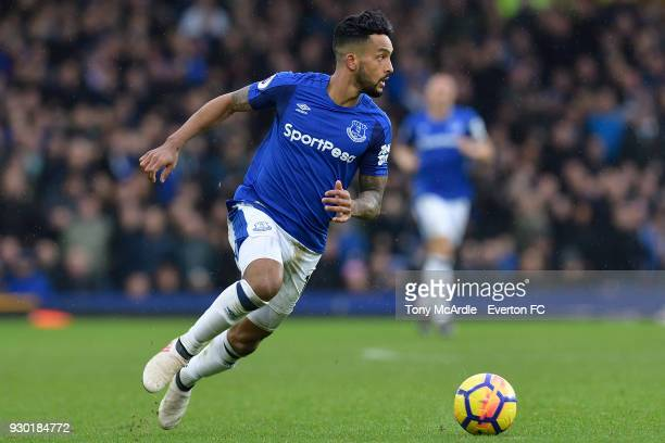 Theo Walcott of Everton on the ball during the Premier League match between Everton and Brighton and Hove Albion at Goodison Park on March 10 2018 in...