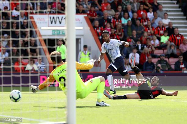 Theo Walcott of Everton scores his sides first goal during the Premier League match between AFC Bournemouth and Everton FC at Vitality Stadium on...