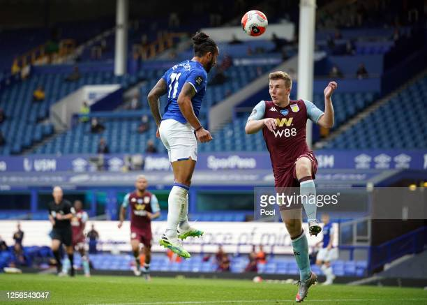 Theo Walcott of Everton scores his sides first goal during the Premier League match between Everton FC and Aston Villa at Goodison Park on July 16,...