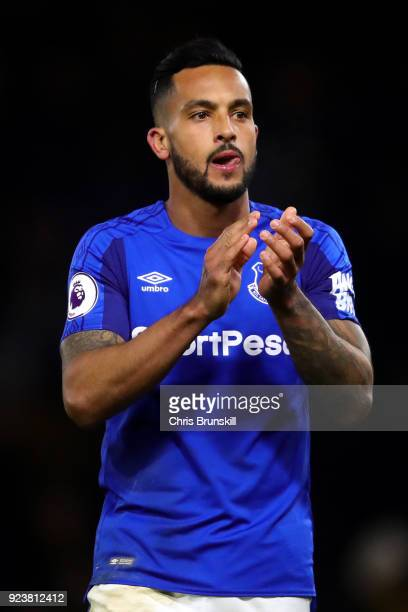 Theo Walcott of Everton shows appreciation to the fans following the Premier League match between Watford and Everton at Vicarage Road on February 24...