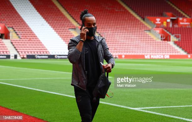 Theo Walcott of Southampton arrives ahead of the Premier League match between Southampton and Burnley at St Mary's Stadium on October 23, 2021 in...